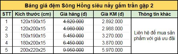 Bảng giá đệm Sông Hồng siêu nẩy gấm trần gập 2