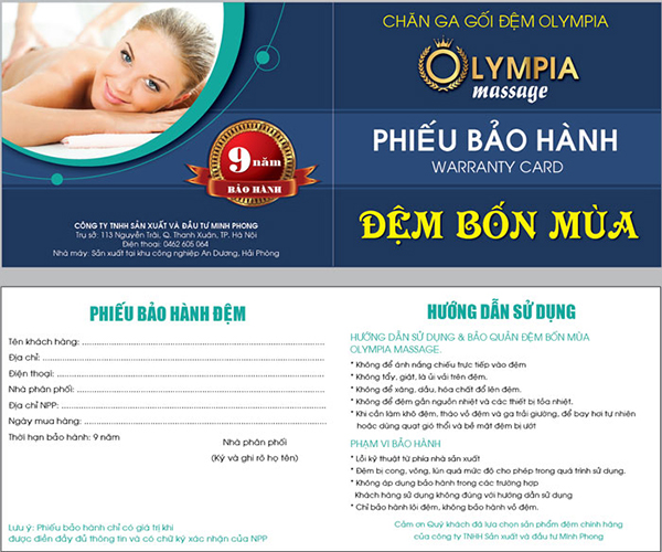 Phiếu bảo hành đệm bốn mùa Olympia massage